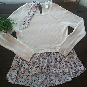 LC Lauren Conrad Peplum Floral Sweater Sz Small